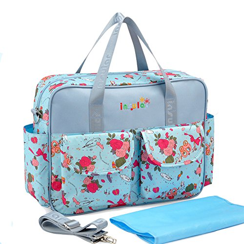 Large Capacity Baby Nappy Tote Bags For Moms Floral Blue