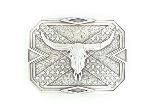 (Nocona Men's Longhorn Steer Head Skull Belt Buckle, Silver, OS)