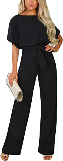 Ailunsnika Women Casual Overall Romper Playsuit Short Sleeve Belted Wide Leg Long Pant Jumpsuits Amazon Ca Clothing Accessories