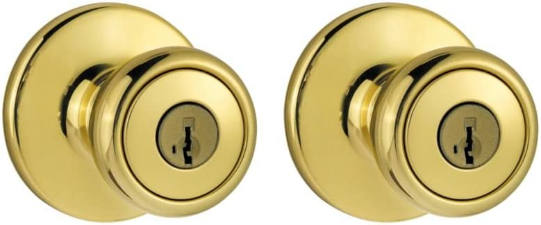Kwikset 243 Tylo Entry Knob and Double Cylinder Deadbolt Project Pack in Antique Brass