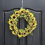 QUNWREATH Handmade Floral 14 inch Sunflowers Series Wreath,Fall Wreath,Wreath for Front Door,Rustic Wreath,Farmhouse Wreath,Grapevine Wreath,Light up Wreath,Everyday Wreath,QUNW01