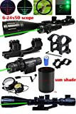 Ledsniper 2 In1 6-24x50 Hunting Rifle Scope Mil-dot Illuminated Snipe Scope &+Tactical green Laser Sight