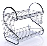 MSLYDYG Stainless Steel Dish Drying Rack, Double Layer S Type Large Capacity Drain Dish Rack, with Cup Holder, Chopsticks Cage Kitchen Storage