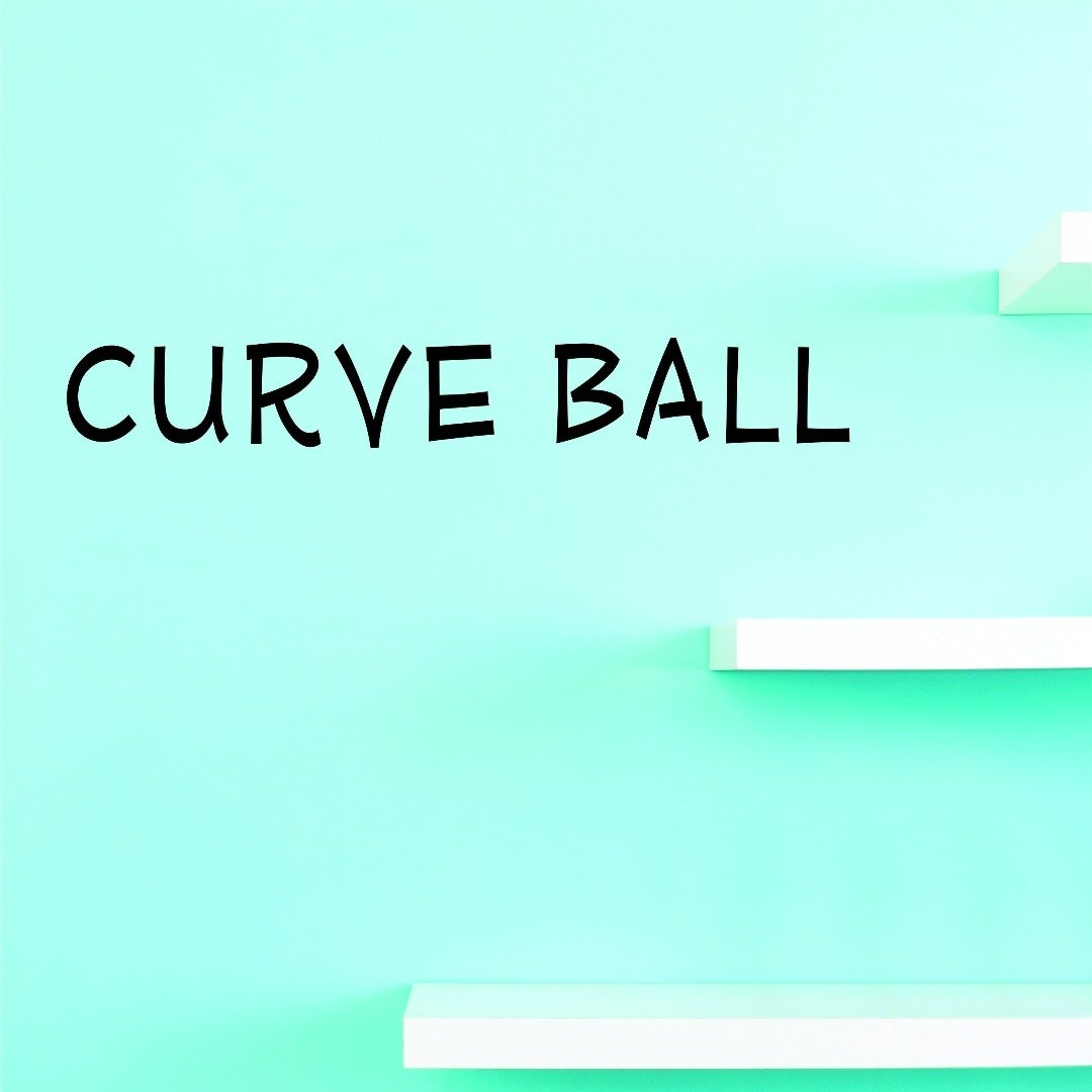 Design with Vinyl JER 124 1 Curve Ball Baseball Sports Quote Sign Boy Girl Children's Bedroom Vinyl Wall Decal Sticker 6 x 20 Black