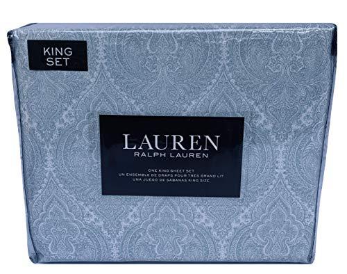 (Lauren 4 Piece Light Sage Green Paisley King Size Sheet Set 100% Cotton)