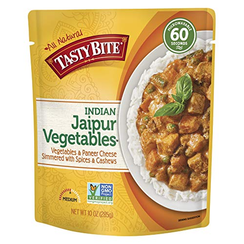Tasty Bite Indian Entree Jaipur Vegetables 10 Ounce (Pack of 6), Fully Cooked Indian Entrée with Vegetables and Paneer Cheese Simmered with Spices and Cashews, Vegetarian, Gluten Free, Ready to Eat ()