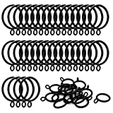 ANJUU 36 Pack 38mm Inner Diameter Metal Curtain Drape Sliding Eyelet Rings Black Tone