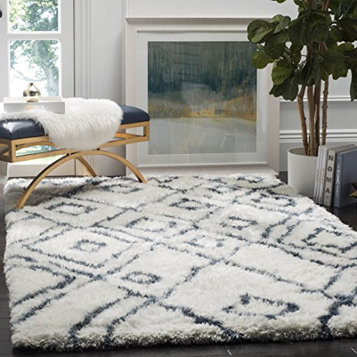 Safavieh Toronto Shag Collection SGT727K Ivory and Blue Handmade Area Rug (8′ x 10′)