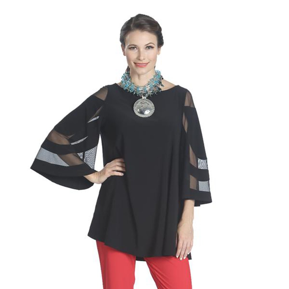 IC Collection Mesh Sleeve Tunic In Black - 1241T (XXL)
