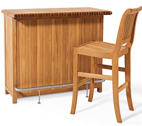 (New Grade A Teak Giva 3 Piece Bar Set - Bar Cabinet With 2 Bar 30