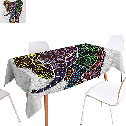 Warmer Oil Tribal Elephant - Warm Family Batik Patterned Tablecloth Digital Big Elephant Figure with Floral Lines and Tribal Shapes Wild Life Theme Image Dust-Proof Oblong Tablecloth 60