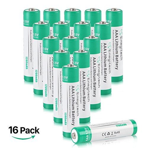 AAA Lithium Batteries 16 Pack, Enegitech 1.5v 1200mAh Long Lasting - Leakproof AAA Battery for Flashlight Camera Remote Control - Non-rechargeable