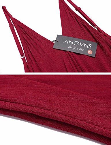 Mini Capestro Rosso Casuale Allentato Donne Angvns Vestito Spiaggia Involucro Croce Asimmetrica Cinghietti Vino qY7wawZ5x