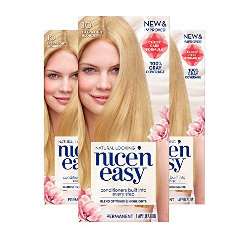 Clairol Nice 'n Easy Permanent Hair Color, 10 Extra Light Blonde, 3 Count (Packaging May Vary)