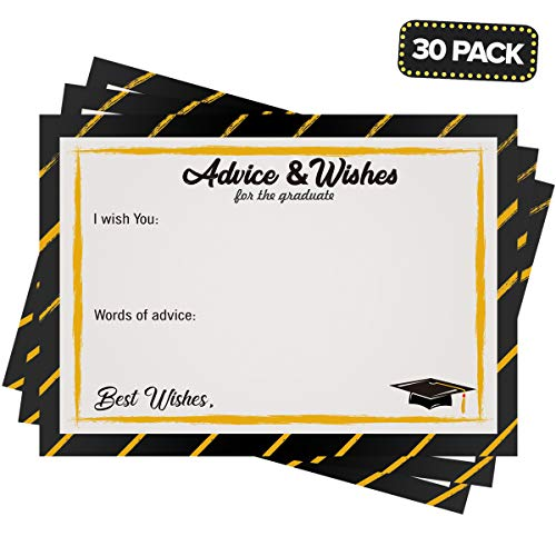 2019 Graduation Party Supplies - 30 Pack Advice and Wishes Cards for the Graduate, Guest Invitation Reception Favors for High School College Grad Party Game Activities, Decoration Keepsake -