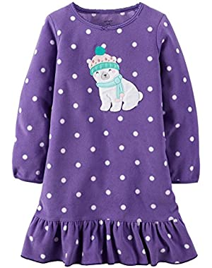 Carters Big Girls' Polar Bear Micro-Fleece Gown