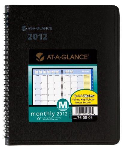 AT-A-GLANCE QuickNotes Recycled Monthly Planner, 6 x 9 Inches, Black, 2012 (76-08-05), Office Central