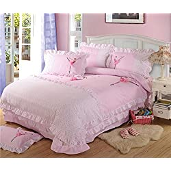 HIGOGOGO Home Textiles 100% Cotton Sweet Ballet Dancer Pattern Bedding Set Pink Color Duvet Cover Set Cartoon Christmas Gift Queen 4Pcs(Queen)