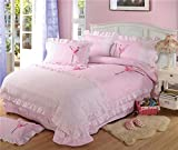 HIGOGOGO Home Textiles 100% Cotton Sweet Ballet Dancer Pattern Bedding Set Pink Color Duvet Cover Set Cartoon Christmas Gift Full 4Pcs (Full)