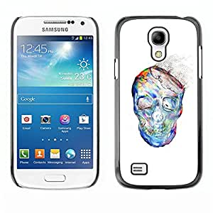 All Phone Most Case / Hard PC Metal piece Shell Slim Cover Protective Case Carcasa Funda Caso de protección para Samsung Galaxy S4 Mini i9190 MINI VERSION! Dust Watercolor White Skull Skeleto