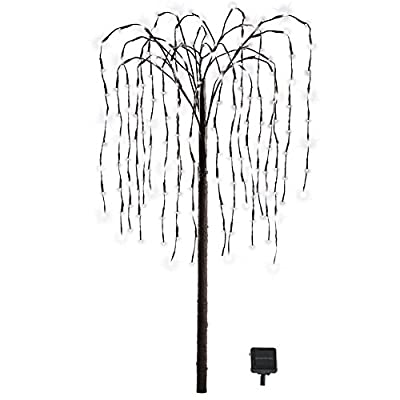 Collections Etc Outdoor Decorations Artificial Willow Tree with Solar Powered Lights, Lawn, Garden, Patio, Deck, White Lights