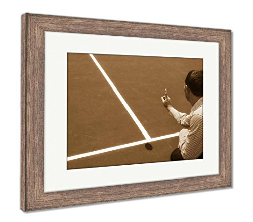 Tennis Umpires Chair (Ashley Framed Prints Chair Umpire Look at Mark On Court and Says Ball was Out, Wall Art Home Decoration, Sepia, 34x40 (Frame Size), Rustic Barn Wood Frame, AG6115291)