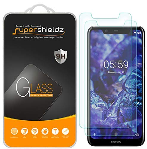 [2-Pack] Supershieldz for Nokia (5.1 Plus) Tempered Glass Screen Protector, Anti-Scratch, Bubble Free, Lifetime Replacement