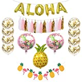 Hawaiian Party Decorations - Includes Gold Aloha Balloons + 8 Gold Confetti Balloons + 15 pc Tassel Banner + Pineapple and Flamingo Banner and Balloons Decorations - Tropical Beach Theme Party Pack