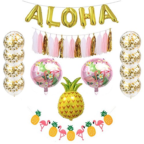 Hawaiian Party Decorations - Includes Gold Aloha Balloons + 8 Gold Confetti Balloons + 15 pc Tassel Banner + Pineapple and Flamingo Banner and Balloons Decorations - Tropical Beach Theme Party Pack by Party Simple