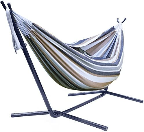 Sorbus Double Steel Stand Two Person Adjustable Hammock Bed-Storage Carrying Case Included Desert-Brown Blue