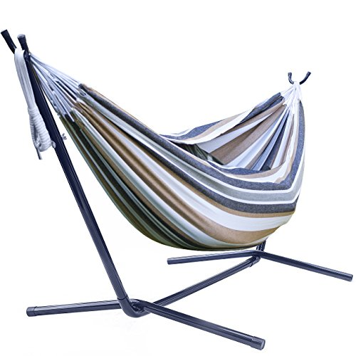 Sorbus Double Hammock with Steel Stand Two Person Adjustable Hammock Bed - Storage Carrying Case Included (Desert-Brown Blue)