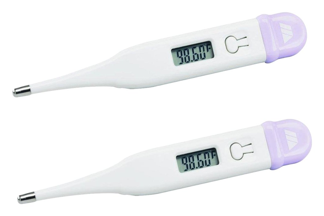 MABIS DMI Healthcare 15-639-000 Basal Display Digital Thermometer, White, 2 Count by MABIS DMI Healthcare