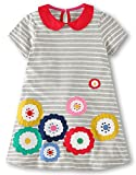 Fiream Girls Cotton Short Sleeves Casual Cartoon Summer Striped Printed Dresses(6784,4T/4-5YRS)