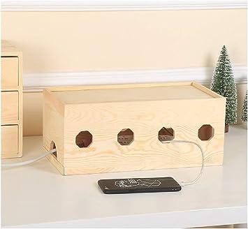 YOSPOSS KZ5327-W976 - Caja organizadora de cables de madera maciza ...