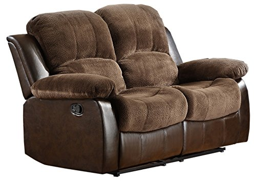 2 Double Reclining Loveseat, Brown Plush Microfiber (Double Recliner Loveseat)
