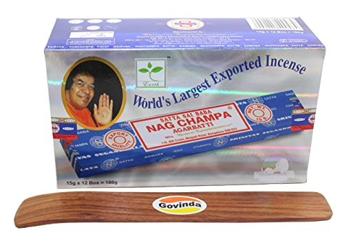 Govinda Satya Bangalore (BNG) Nag Champa Argarbatti 12 boxes x 15 g (180 grams total) with Incense Holder by Govinda