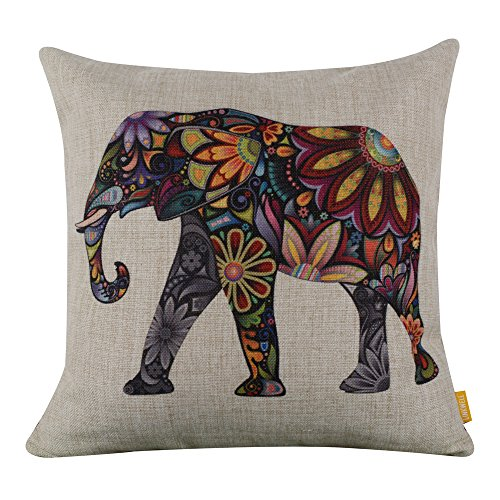 generic-bright-color-flower-elephant-burlap-pillow-cases-cushion-covers-18-x-18