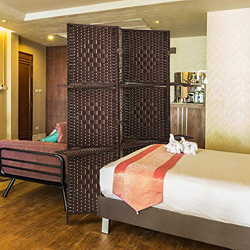 BestMassage Wooden Folding Portable Partition 4 Panel Screen Room Divider, Brown ()