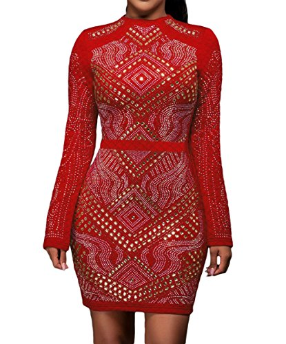 Huusa Womens Sexy Mini Jeweled Quilted Long Sleeves Party Club Dress S Red 1
