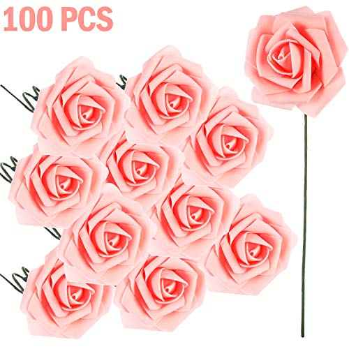 Poen 100 Pieces Artificial Flowers Blush Roses Foam Rose with Stem for DIY Wedding Bouquets Centerpieces Party Baby Shower Home Decorations ()