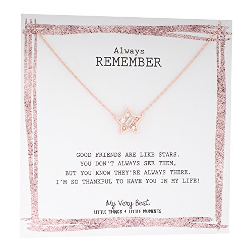 My Very Best Be Shine Friendship Single Geometric Stone Star Necklace (rose gold plated brass)