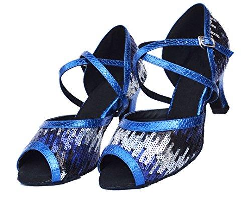 Tda Womens Cinturino Alla Caviglia Paillettes Tacco Medio Comfort Scarpe A Punta In Latino Balza Blu