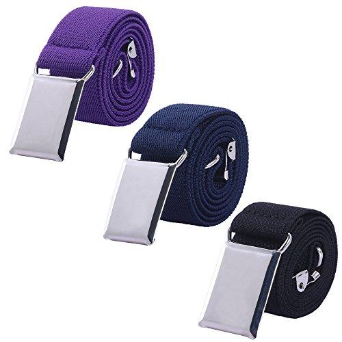 Toddler Boy Kids Buckle Belt - Adjustable Elastic Child Silver Buckle Belts for Girls, 3 Pieces (Purple/Navy blue/Black) -