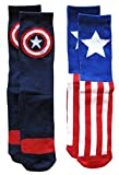 Marvel Captain America Mens Athletic Crew Socks 2 Pair Blue