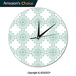 SCOCICI 10 Inch Round Wall Clock Horizontal Lines Stripes Bold and Thin Ocean Themed Movement Silent Non-Ticking for Kitchen Study Office Room Decorations