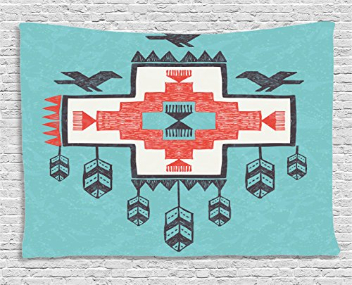 - Ambesonne Tribal Tapestry, Hand Drawn Dreamcathcher Folkloric Birds Image, Wide Wall Hanging for Bedroom Living Room Dorm, 80