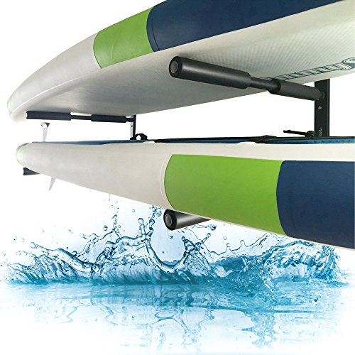 Paddle Board Wall Racks By Paddle Board Accessories Company: Easy, Fast Installation, Double, Heavy Duty, Steel Tubing, SUP & Surfboard Mount Storage Rack That Is Sure To Impress Your Friends by Paddle Board Accessories