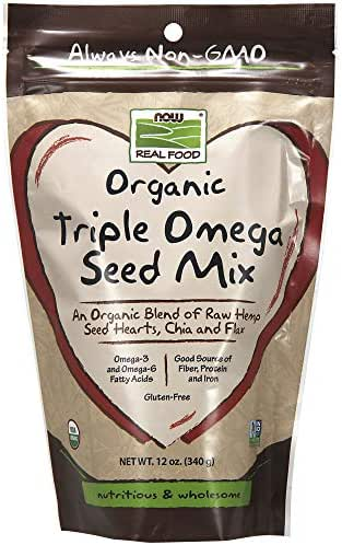 NOW Foods, Organic Triple Omega Seed Mix, Raw Hemp Seed Hearts, Chia and Flax, Omega-3 and 6 Fatty Acids, Source of Fiber, Protein and Iron, Gluten-Free, 12-Ounce