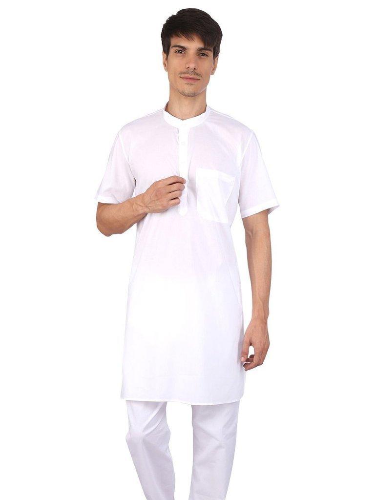 Royal Kurta Men's 100% Cottonhalf Sleeved Kurta Pyjama Set for Summer 40 White