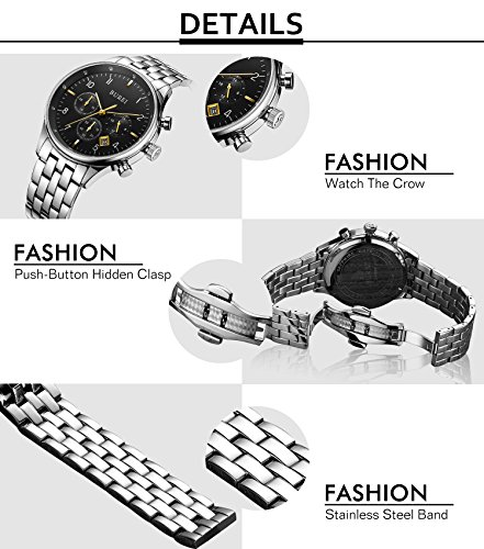 BUREI Men Chronograph Sports Watch Black Dial Stainless Steel Bracelet